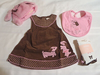 Gymboree Polka Dot Puppy 0-3 or 3-6 Month Choice Dress Tights Bib Hat Outfit NWT