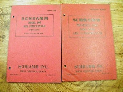 Schramm 600 Air Compressor Portable Diesel Parts Operators Manual