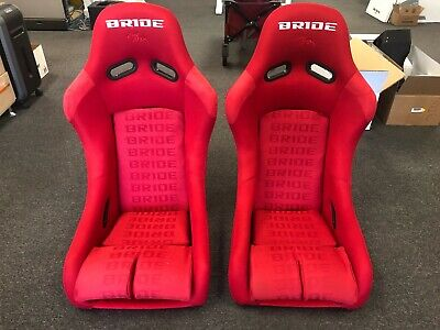 PAIR BRIDE VIOS 3 RED Gradation Seats FRP Low Max Bucket Racing 2 Seats OPEN BOX
