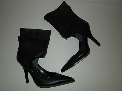 NWT SEXY Paolo Black Leather Cut Out Stiletto Shoes w Boot Ankle Cuffs 7.5M