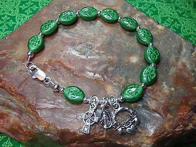 IRISH Shamrock CELTIC Claddagh ROSARY Bracelet with Celtic Cross 7.5