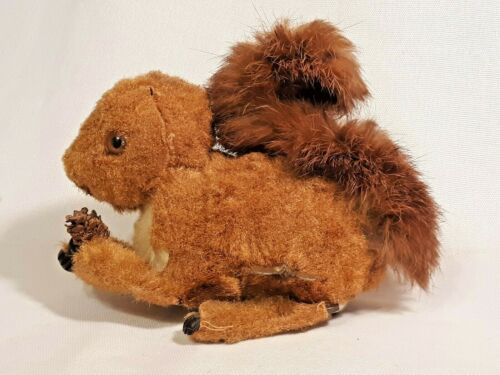 Vintage Wind up Friction FLOCKED SQUIRREL WITH PINECONE Working Condition Used