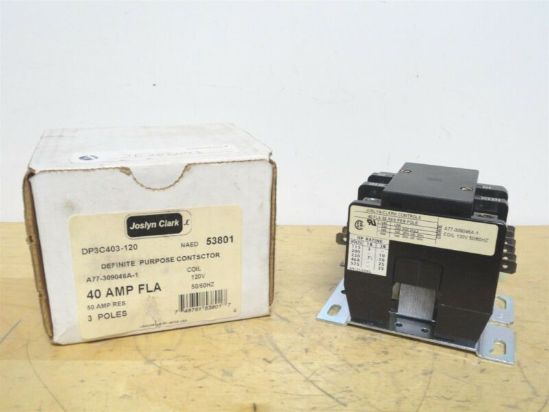 JOSLYN CLARK - 40A DEFINITE PURPOSE CONTACTOR - P/N: DP3C403-120 - NEW IN BOX