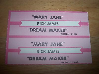 "2 Rick James Mary Jane / Dream Maker Jukebox Title Strips CD 7"" 45RPM Records"