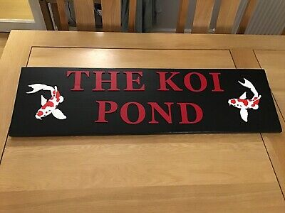 Handcrafted Oriental 'The Koi Pond' Sign - 2 Red/white Koi In Black/red Letters