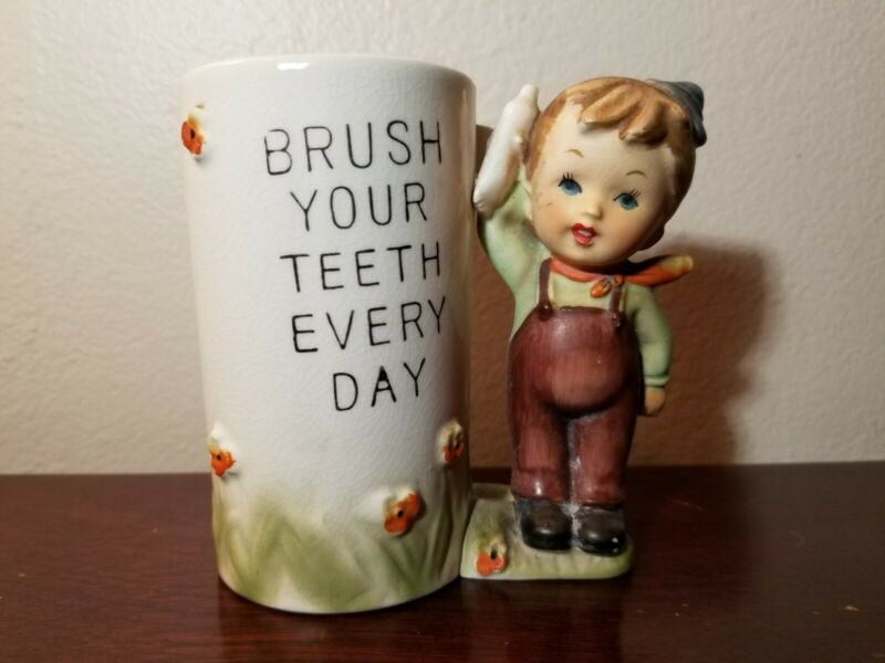 Vintage Erich Stauffer Brush Your Teeth Cup Toothbrush Cup And Figurine RARE...