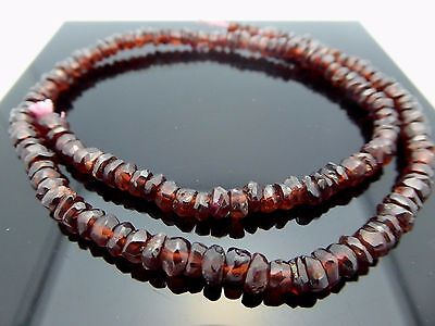 Garnet Button - Natural Dark Red Garnet Button Faceted Rondelle 4mm Gemstone Bead 15