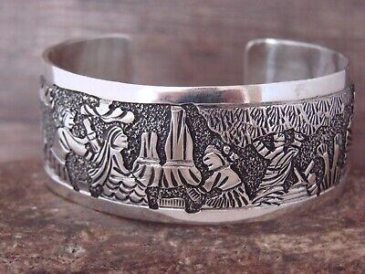 Navajo Indian Hand Stamped Sterling Silver Storyteller Bracelet by Becenti