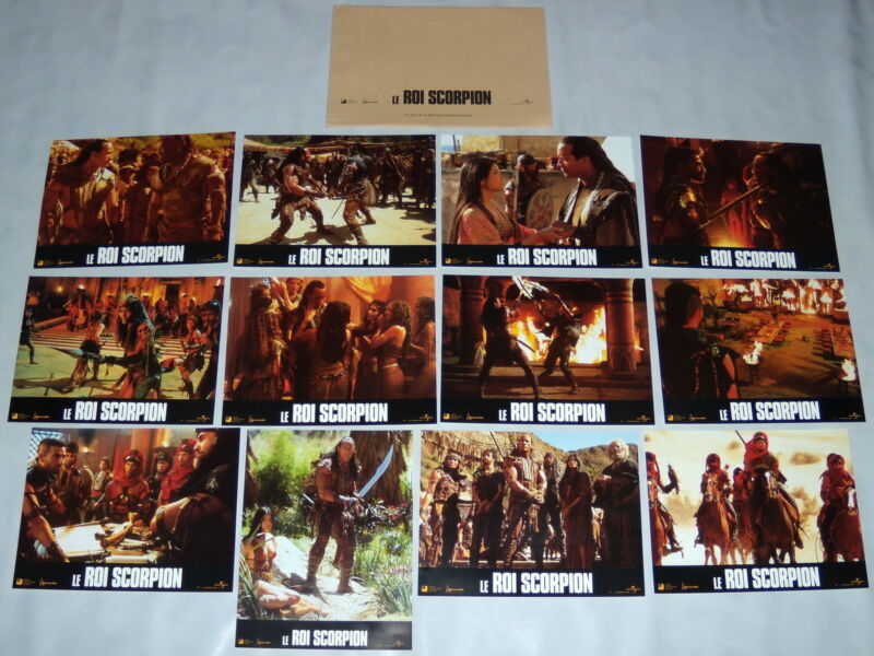 THE SCORPiON KiNG Dwayne Johnson Egypt Fantasy Kelly Hu 12 FRENCH LOBBY CARDs