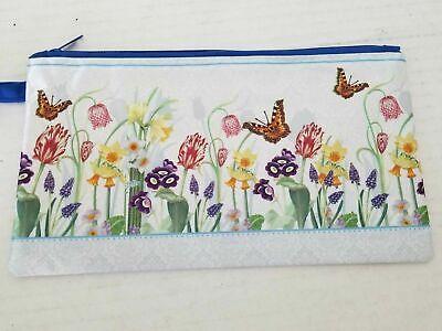 Fabric Zipper Pencil Bag Pouch Makeup Cosmetic bag Butterfly Flower Print - Butterfly Makeup
