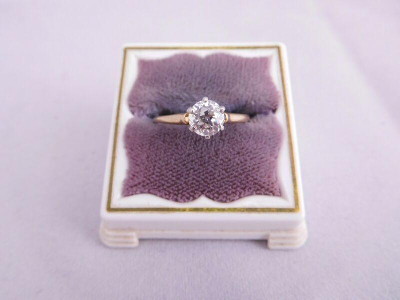 SUPER ART DECO 14K GOLD PLATINUM TOPPED MINE CUT DIAMOND STONE RING