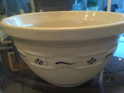 Longaberger Pottery Woven Traditions Heritage Blue 10 inch Large Mixing Bowl