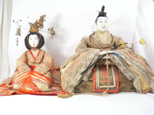 Antique Gofun Meiji Period (1868-1912) Hina Japanese Emperor and Empress Dolls