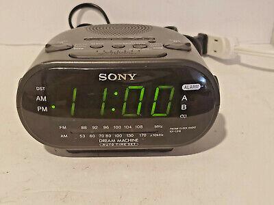 Sony Dream Machine AM/FM Dual Alarm Black Clock Radio Model ICF-C318 TESTED