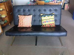 Modern black leather / silver sofa plus 2 matching chairs Naremburn Willoughby Area Preview