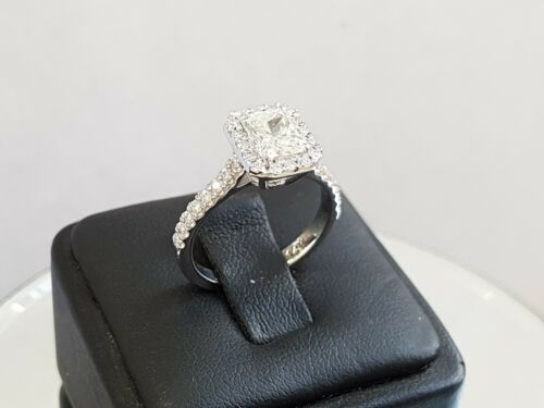 1.85ct Cushion Halo Radiant Diamond Engagement Ring 14k White Gold F Color Vs1