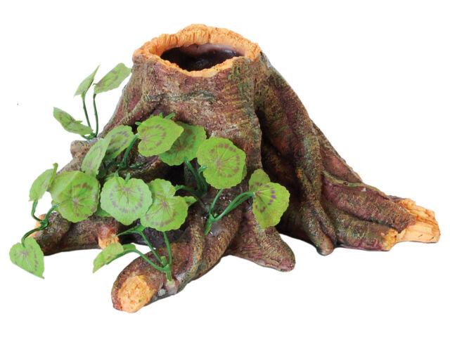 Root with Silk Plant Reptile Terrarium Vivarium Ornament Decoration
