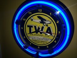 TWA Airlines Airport Lindbergh Line Airplane Pilot Blue Neon Wall Clock Sign