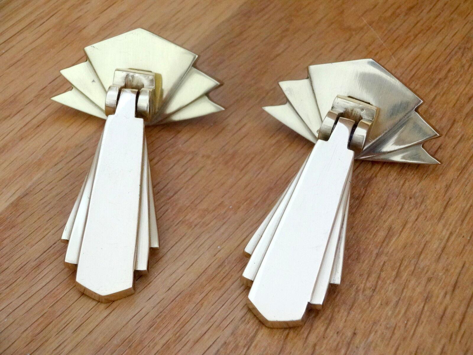 4 x brass art deco door or drawer pull drop handles for Furniture handles