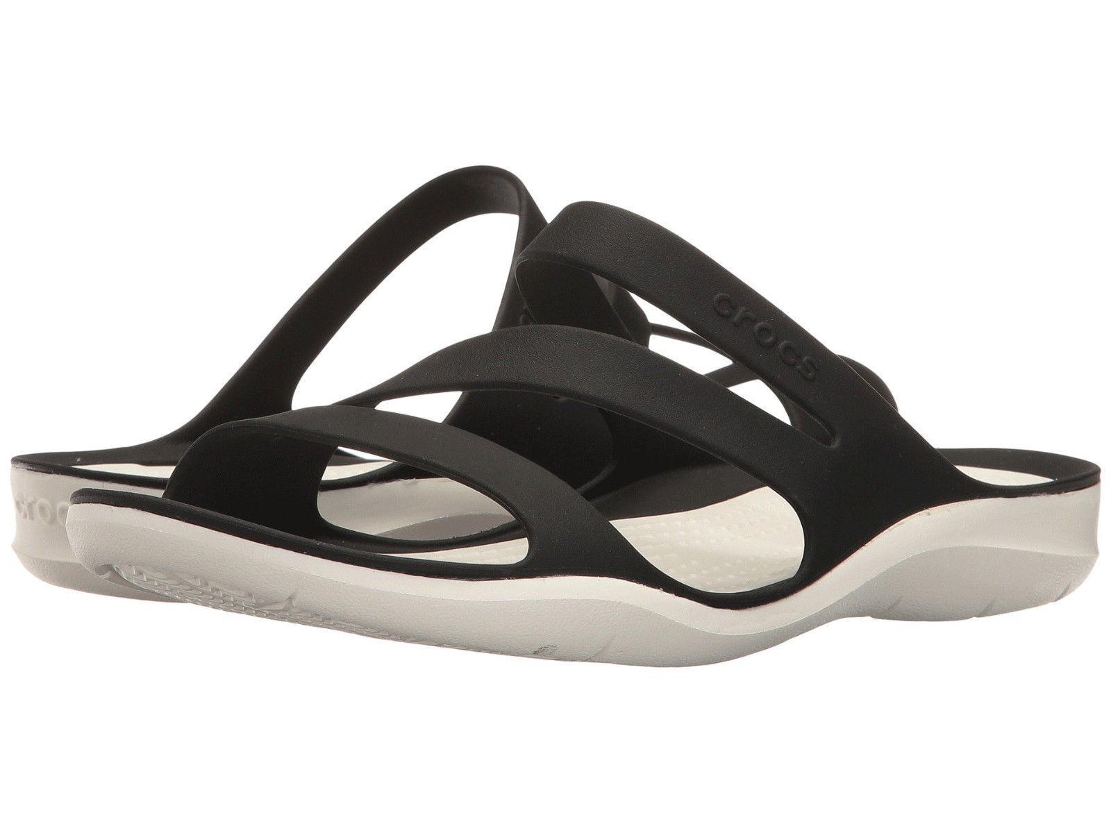 Women Crocs Swiftwater Sandal 203998-066 Black White 100% Authentic Brand New