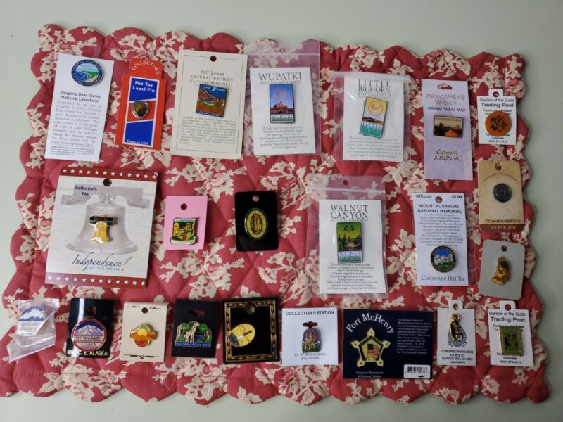 SOUVENIR Travel Pins - Lot of 23 MONUMENTS, TRIBAL PARK,NATIONAL MEMORIALS