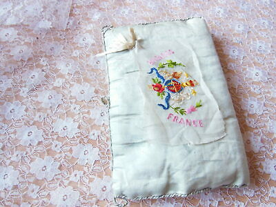 Antique/WW1 Embroidered Silk Handkerchief with Silk Case