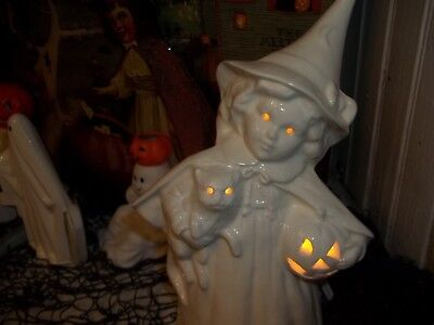 VTG INSPIRED CERAMIC VICTORIAN STYLED HALLOWEEN WITCH LIGHT HAUNTED DECORATION
