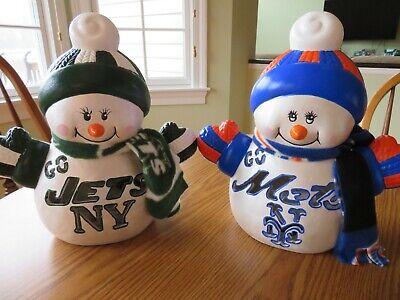 Mets/Jets Ceramic Light Up Snowman