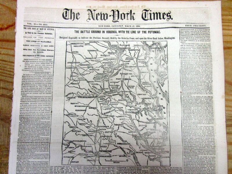 1862 NY Times Civil War newspaper w MAP Annapolis MARYLAND to Richmond VIRGINIA