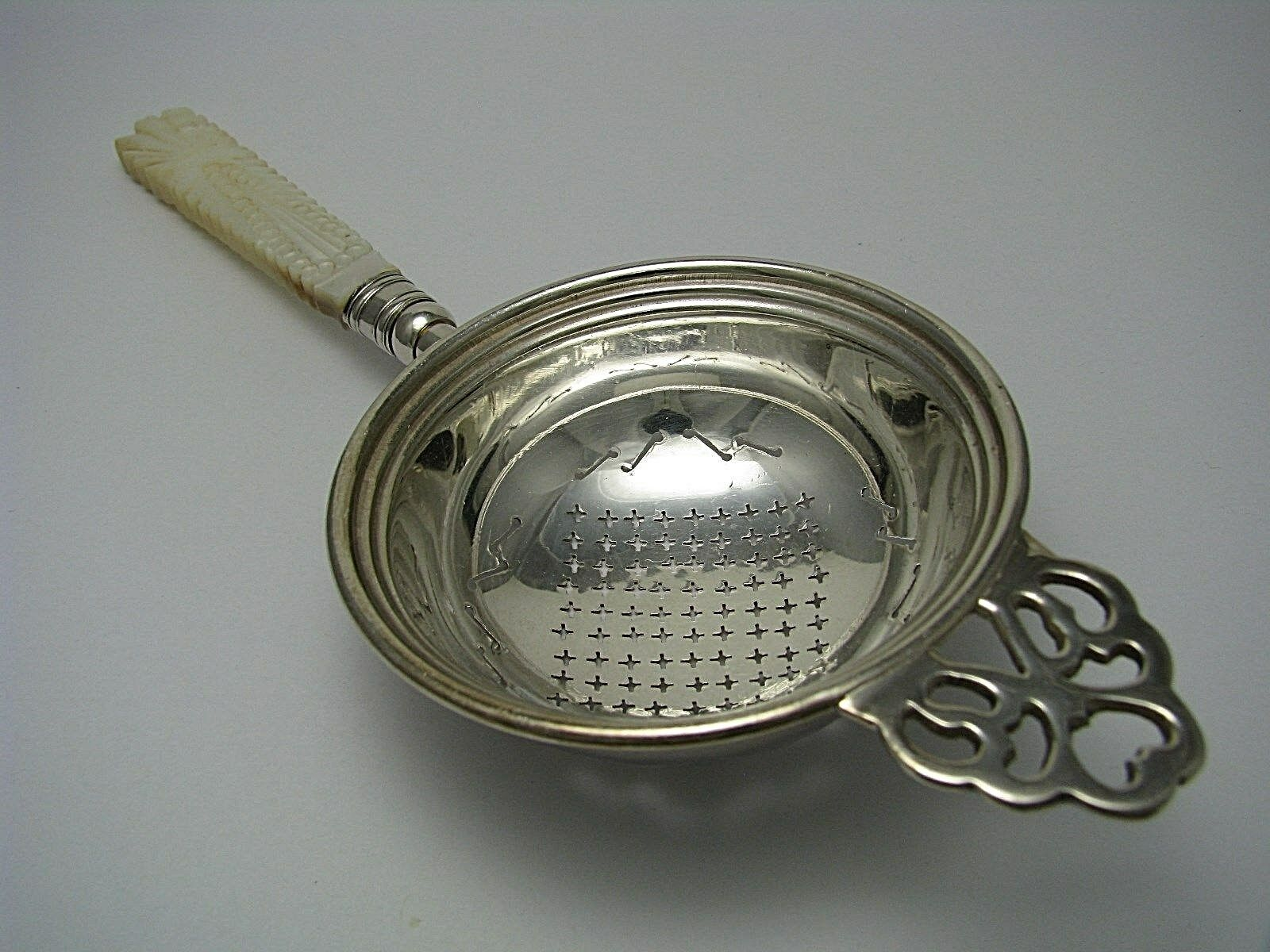 SILVER PLATED TEA STRAINER MOTHER OF PEARL HANDLE SIFTER SERVING LADLE Ca1900 s - $245.00