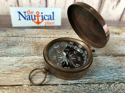 Maritime Modest Antique Maritime Brass Compass With Clock In Wooden Box Vintage Nautical Decor Maritime Compasses