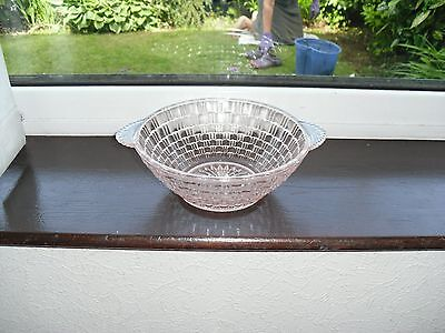 VINTAGE PINK GLASS BOWL WITH HANDLES c1930-40's,