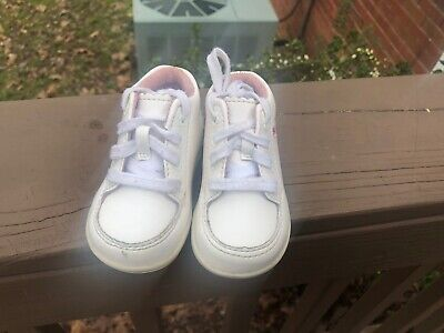 Stride Rite Emilia Baby Girls Leather White Walking Shoes 3 Med