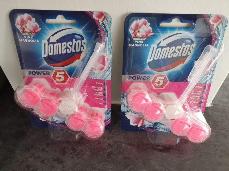 Domestos+Power+5+PINK+MAGNOLIA+Toilet+Rim+Block+55g+Pack+of+2+FLASH+SALE+%C2%A35+FPOS