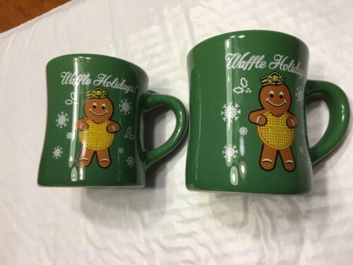 > A PAIR!! 2016 Waffle House Christmas Coffee Mug Holidays Gingerbread Lot Of 2
