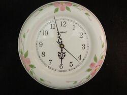 Vintage Sunbeam Quartz Porcelain Wall Clock 10 1/2 Diameter Floral Design