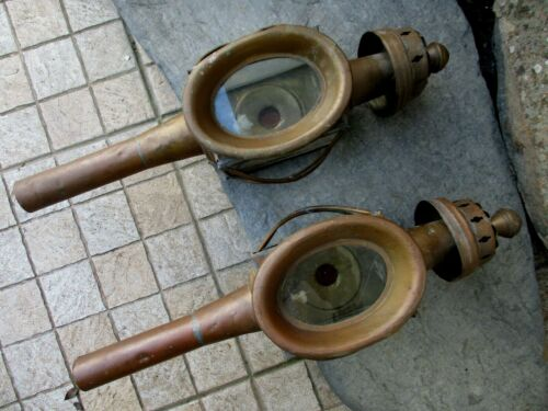 VINTAGE PAIR TRUE COPPER CARRIAGE DRIVING LAMP LANTERN LIGHT WAGON RED LENS
