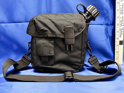 NEW US Military Style Tactical Survival 2 QT Water Canteen + Black Pouch Carrier