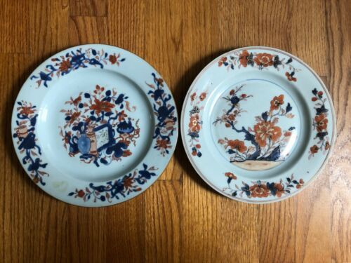 Two Antique 18th C. Chinese Export Porcelain Plates 9.25""