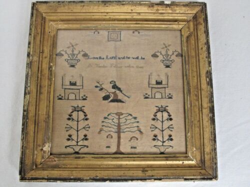Antique English Hand Stitched Pictorial Needlework Sampler c.1800