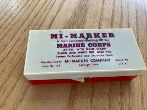 MARINE CORPS WWII MI-Marker Personalized Marking Kit Dated 1944 Military