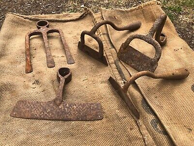 used vintage antique farm bygone tools hoe Crome
