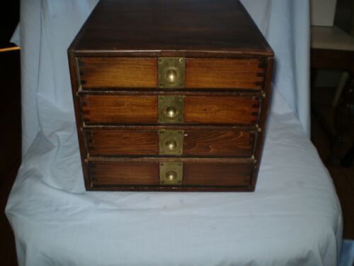 Vintage 4 drawer wood box with brass recessed pulls