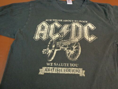 AC/DC For Those About To Rock British Tour '82 Medium  Black T-Shirt    K21