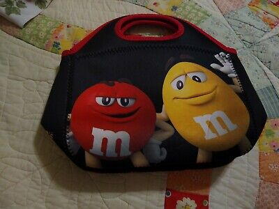 Mars M&M Candies Red & Yellow Insulated Tote Bag with Zipper Black & Red - Black M&m Candy