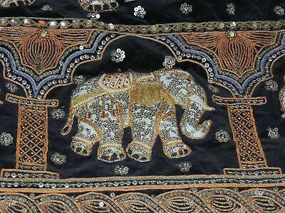 "Burmese Kalaga Embroidery 52"" x 36"" Tapestry Art Wall Hanging Elephants Riders"
