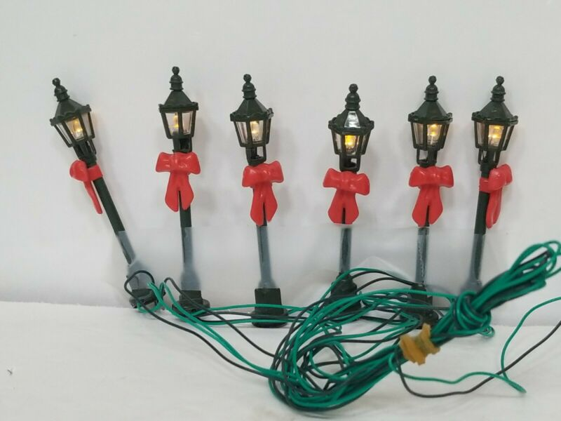 "Hawthorne Christmas Village Street Lights String of 6 Battery Operated 3"" Tall"