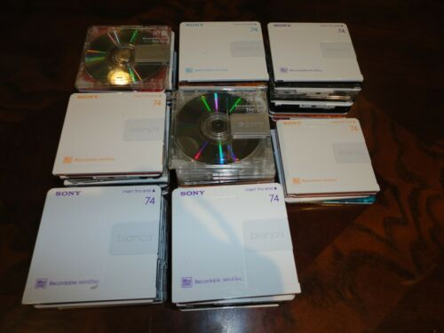 Used once - Lot of 74 Recordable Sony MiniDisc MD 74 Mini Disc Sony