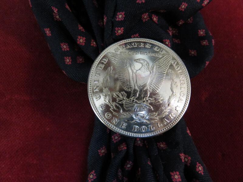 Scarf Slide / Wild Rag Slide: Real Coin Silver Dollar, Eagle Side