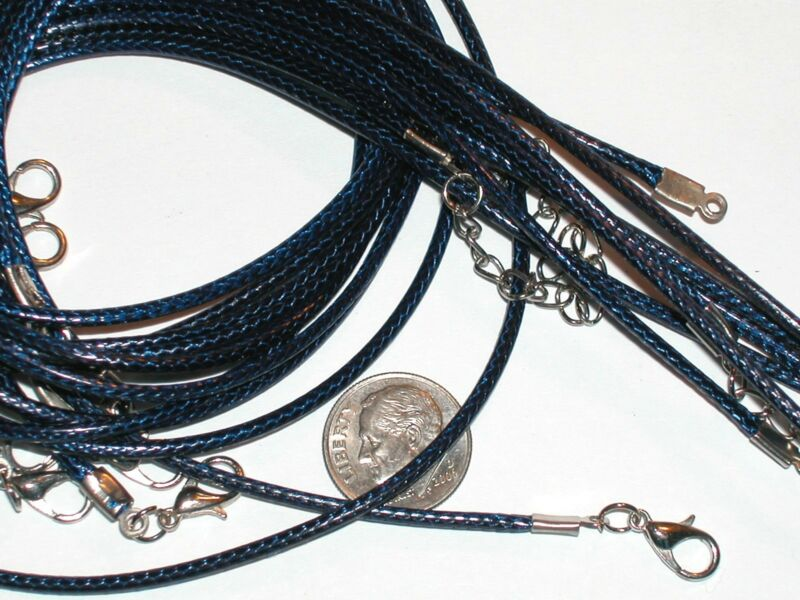 "5 Pc. DARK BLUE Pendant charm Necklaces Lot smooth flex soft style 18"" New*"